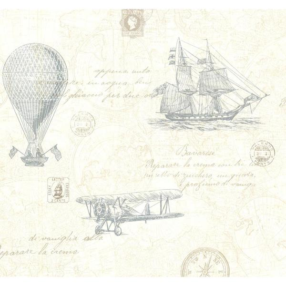 Beacon House 56.4 sq. ft. Explorer Teal Antique Map Wallpaper 2604-21241