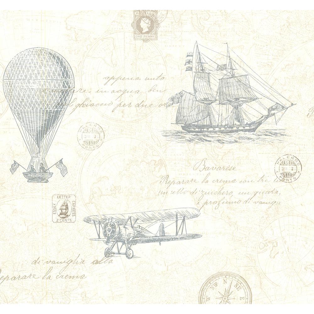 Explorer Teal Antique Map Wallpaper Sample