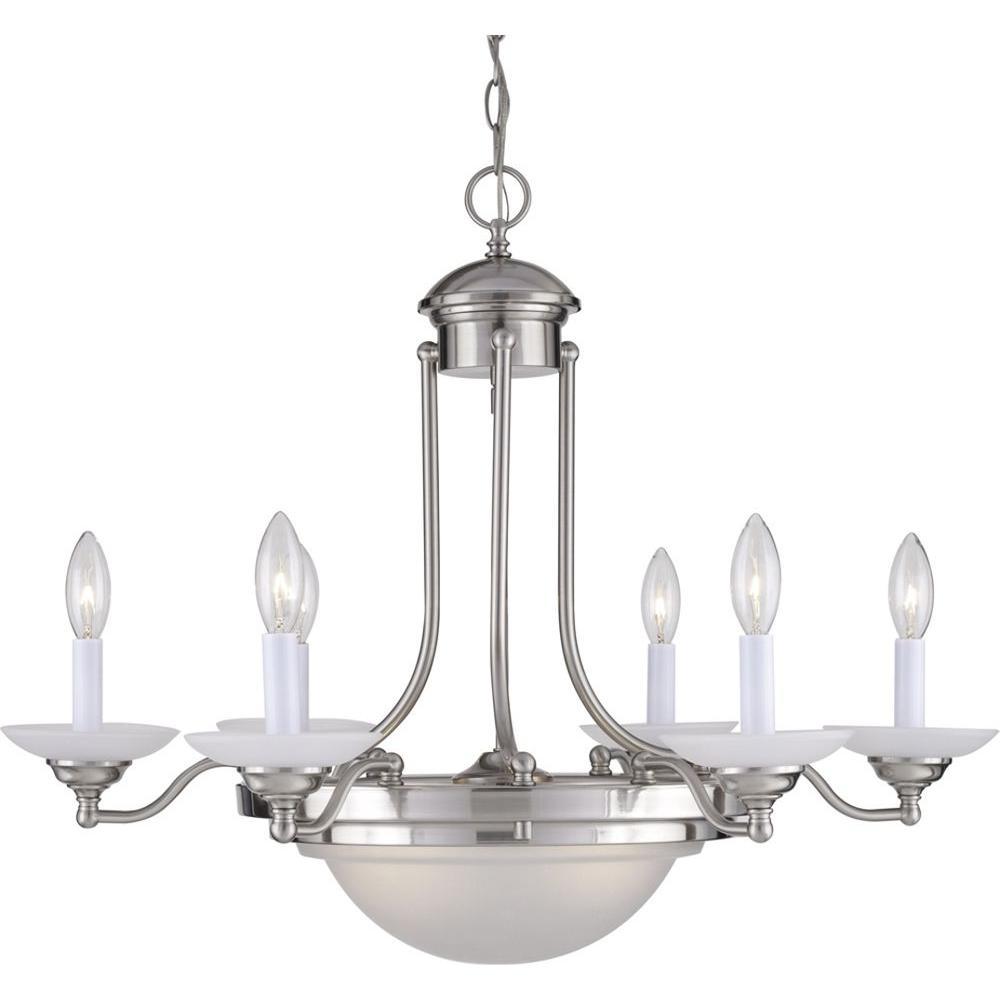 8-Light Brushed Nickel Interior Chandelier