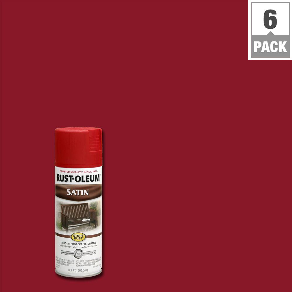 Rust Oleum Stops Rust 12 Oz Protective Enamel Heritage Red Satin Spray Paint 6 Pack 7760830