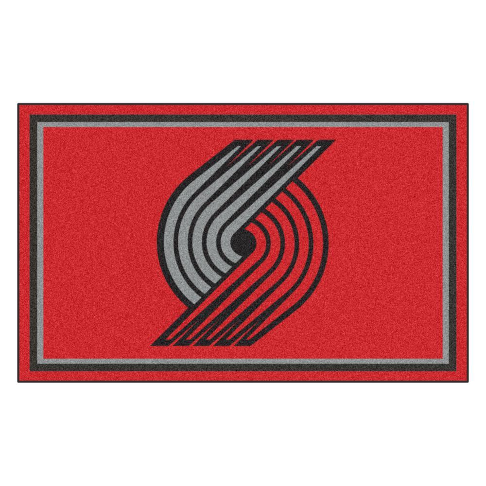 Fanmats Nba Portland Trail Blazers Red 6 Ft X 4 Ft