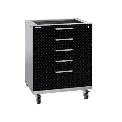 Performance Plus Diamond Plate 2.0 28 in. W x 35.5 in. H x 22 in. D Steel Garage Freestanding Tool Cabinet in Black