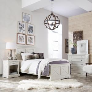 Home Styles Seaside Lodge 5-Piece Hand Rubbed White Queen Bedroom Set by Home Styles