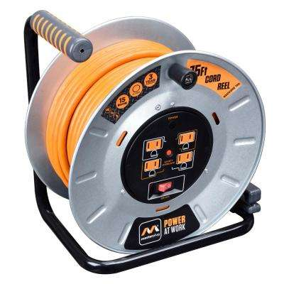 75 ft. 15 Amp 12 AWG Large Open Metal Reel with 4-Sockets