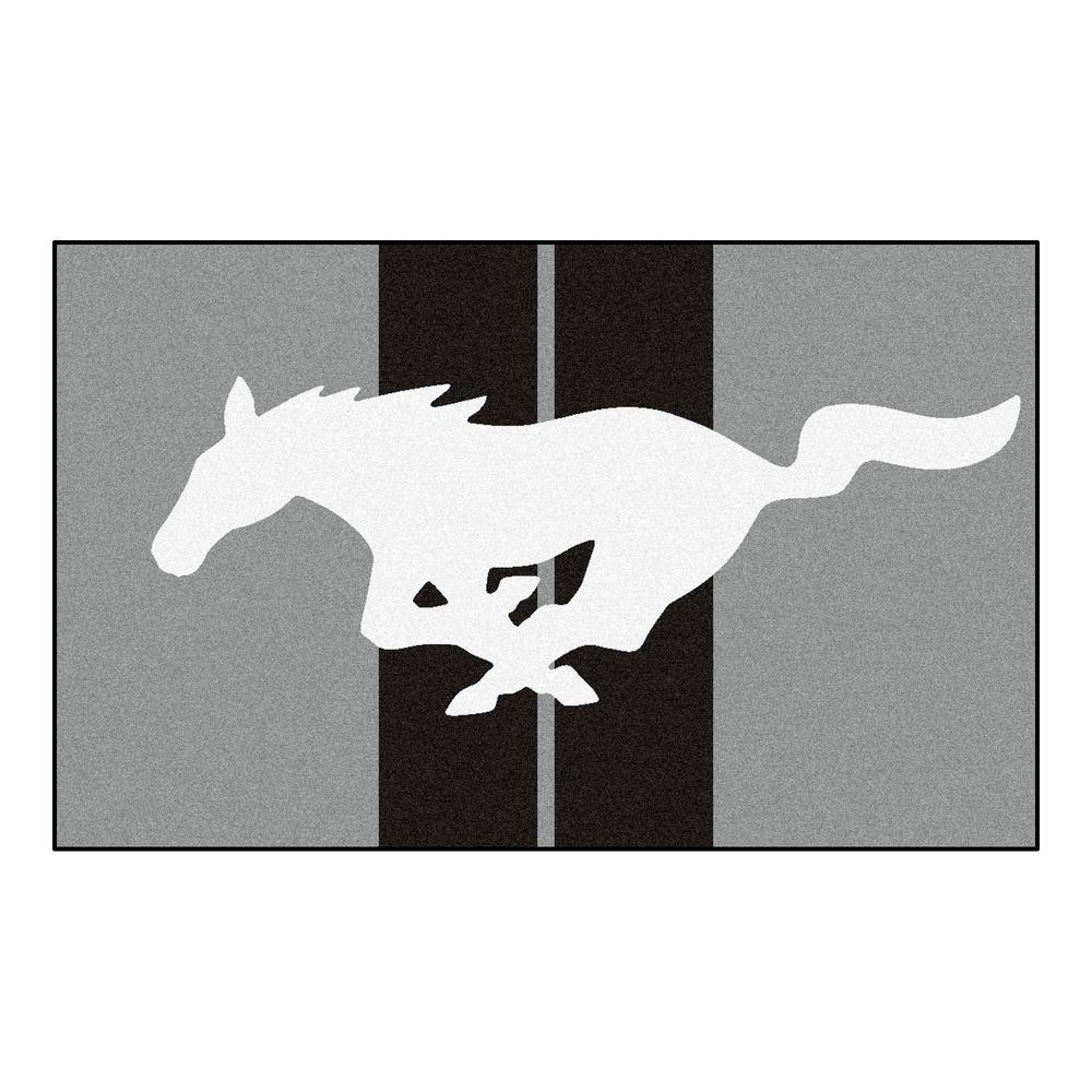 Fanmats Ford Mustang Horse Gray 6 Ft X 4 Ft Indoor Rectangle