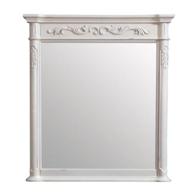 Provence 36 in. W x 40 in. H Framed Rectangular Bathroom Vanity Mirror in Antique White