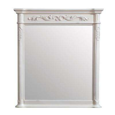 Provence 36 in. x 40 in. Framed Wall Mirror in Antique White