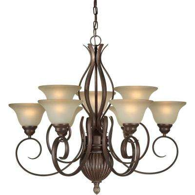 9-Light Black Cherry Bronze Chandelier with Umber Glass Shade