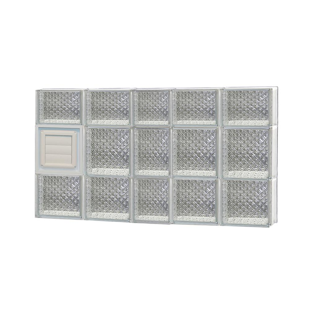 Clearly Secure 36.75 in. x 21.25 in. x 3.125 in. Frameless Diamond Pattern Glass Block Window with Dryer Vent