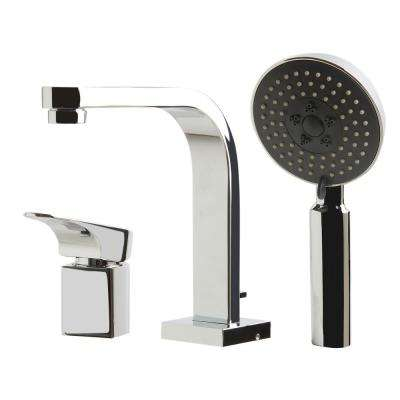 Single-Handle Tub Deck Mount Tub Faucet with Sleek Modern Design in Polished Chrome