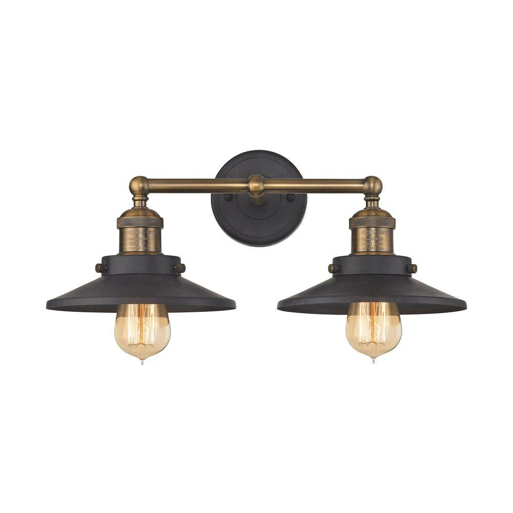Titan Lighting English Pub 2-Light Tarnished Graphite and Antique Brass  Vanity Light - Titan Lighting English Pub 2-Light Tarnished Graphite And Antique