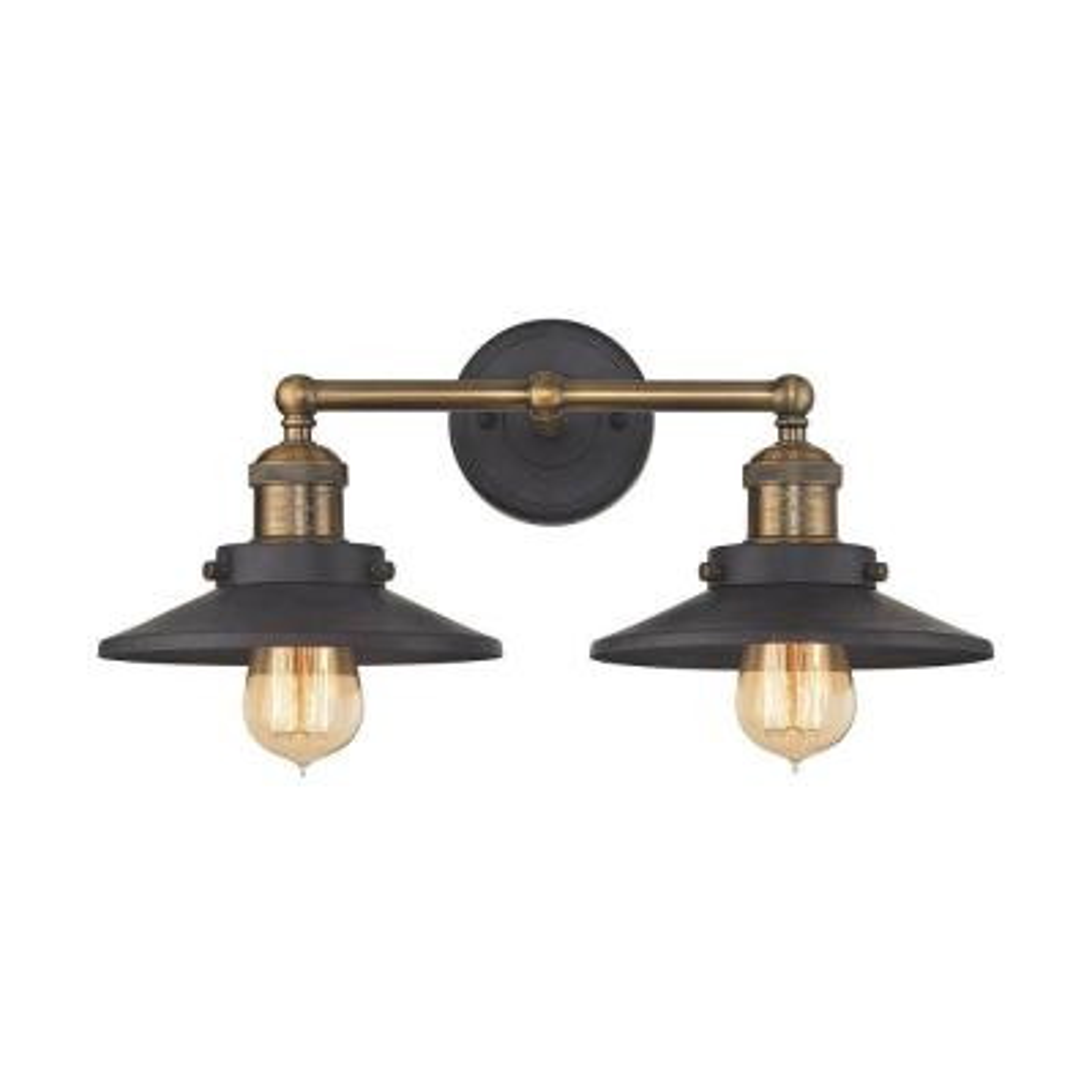 English Pub 2-Light Tarnished Graphite and Antique Brass Vanity Light