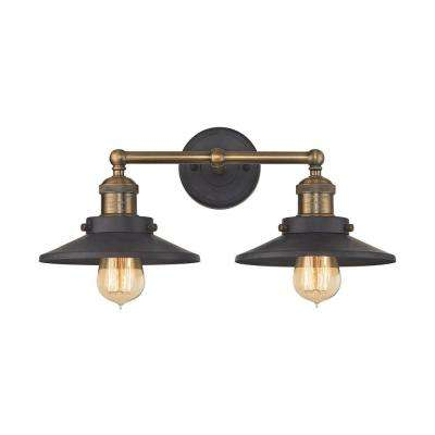 English Pub 2-Light Tarnished Graphite and Antique Brass Vanity Light