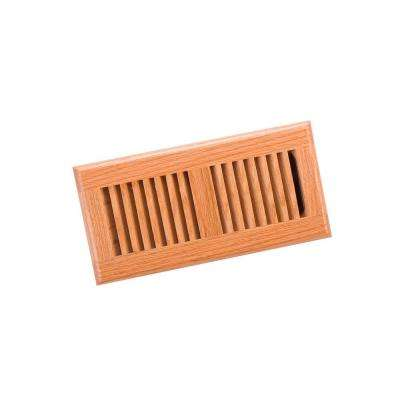 4 in. x 10 in. Wood Red Oak Natural Finish Surface Mount Register