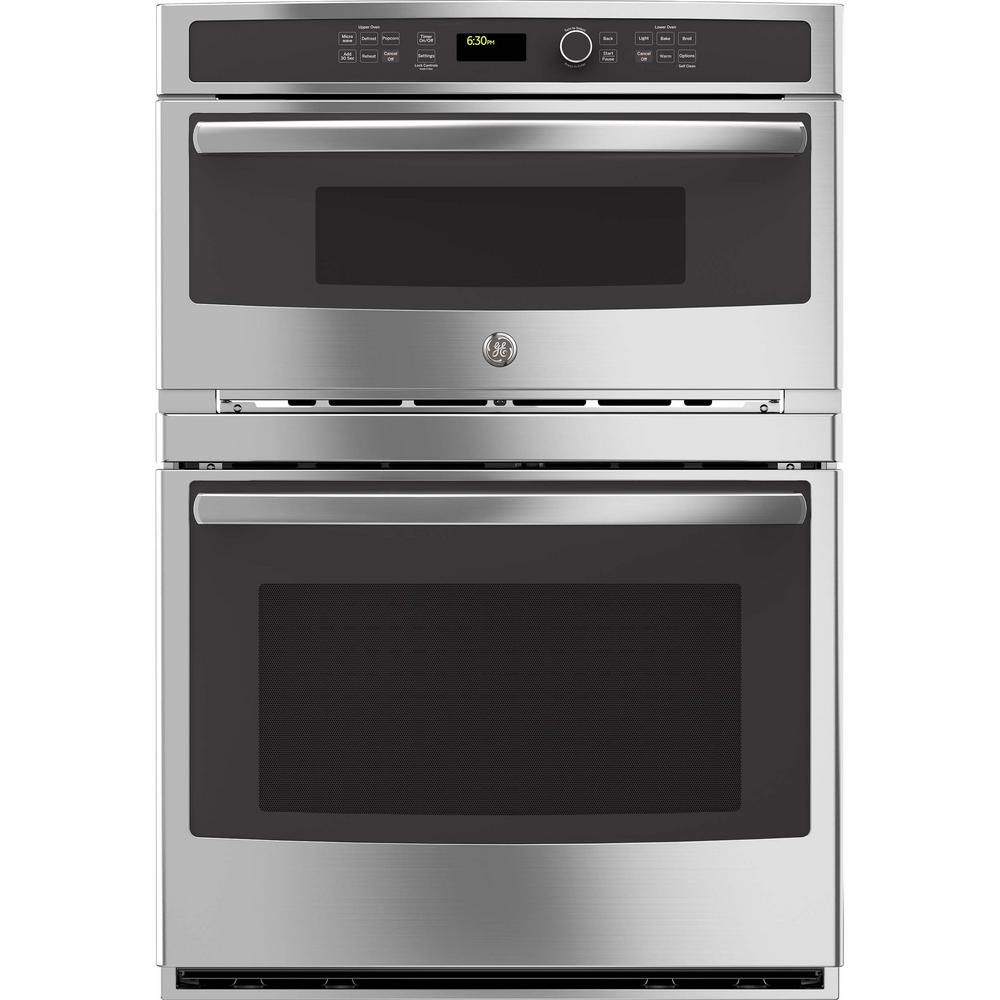 GE 30 in. Double Electric Wall Oven with Built-In Microwave in Stainless Steel
