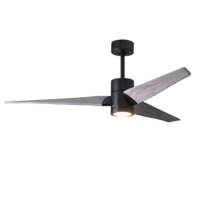 Super Janet 60 in. LED Indoor/Outdoor Damp Matte Black Ceiling Fan with Light with Remote Control and Wall Control