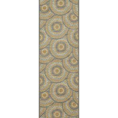 Studio Collection Mosaic Medallion Design Blue 2 ft. x 5 ft. Non-Skid Runner Rug