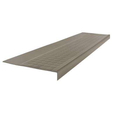 Low Circular Profile Pewter 12.5 in. x 48 in. Rubber Square Nose Stair Tread