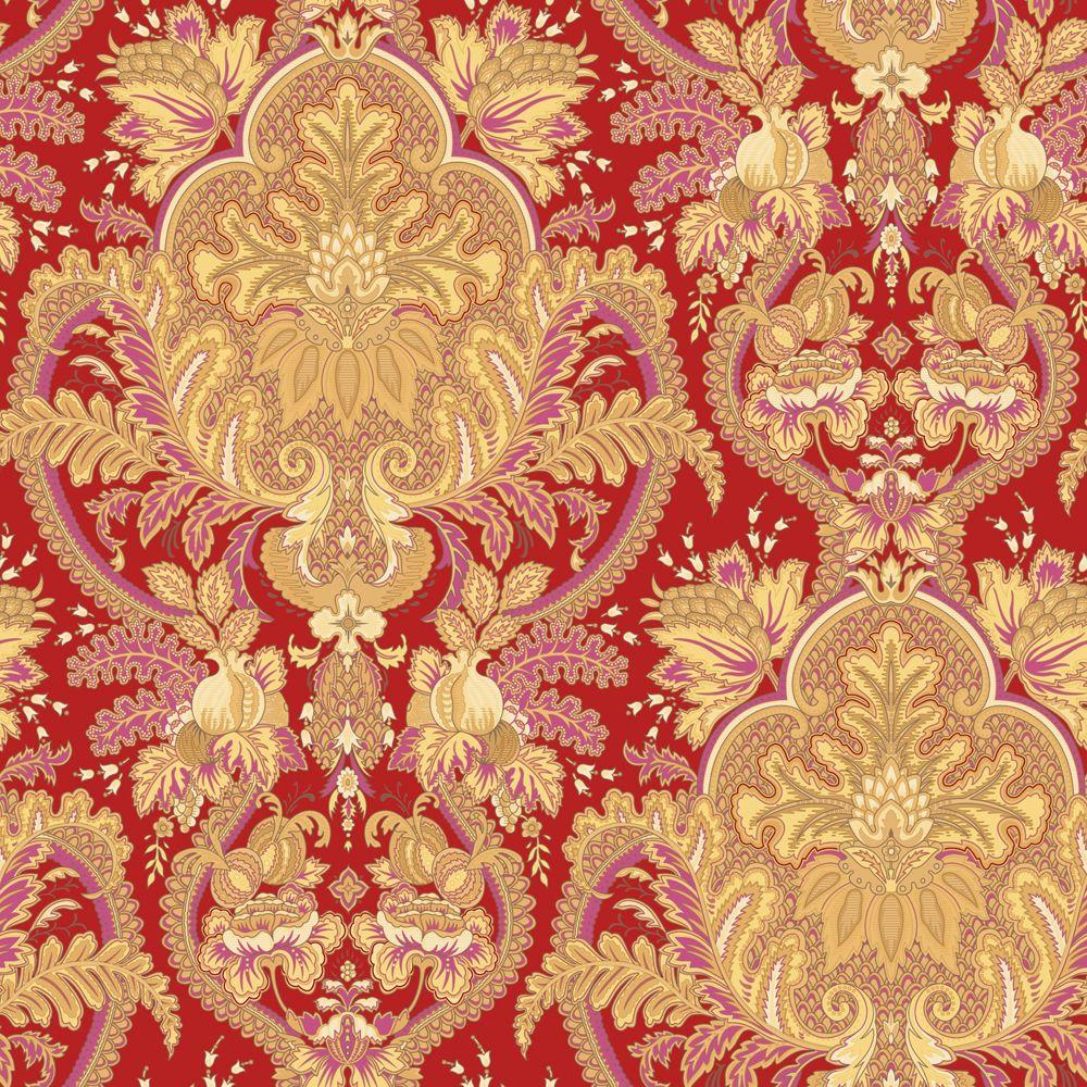 The Wallpaper Company 56 sq. ft. Small Paisley Damask Red/Ochre/Pink Wallpaper