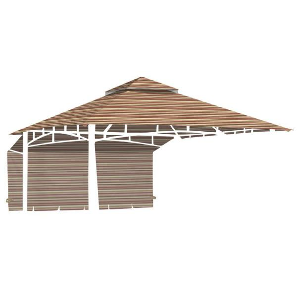 Standard 350 Stripe Canyon Replacement Canopy for 10 ft. x 10 ft. Garden House with Awning