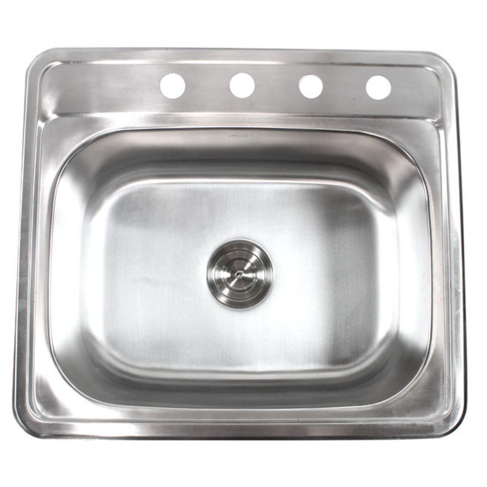 Top Mount Sink Kitchen: EModernDecor Top Mount Drop-In Stainless Steel 18-Gauge 25