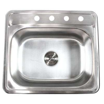 Top Mount Drop-In Stainless Steel 18-Gauge 25 in. x 22 in. x 9 in. Deep 4-Faucet Holes Single Bowl Kitchen Sink