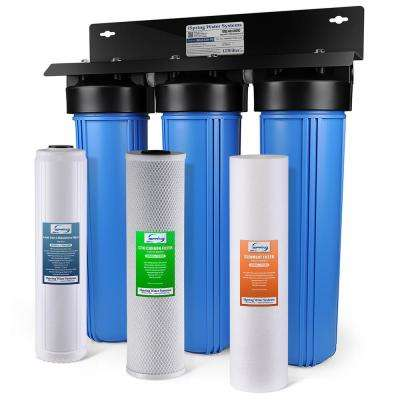 3-Stage 100,000 Gal. Big Blue Whole House Water Filter with Multi-Layer Sediment, Carbon Block, Lead Removal Cartridge