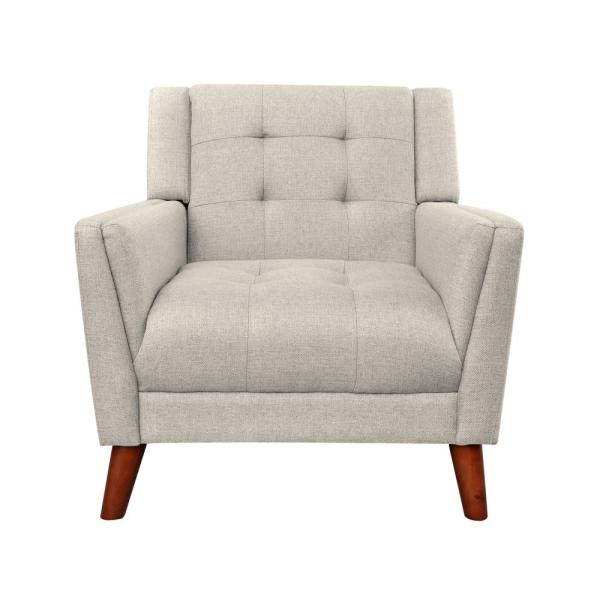 Candace Mid-Century Modern Tufted Beige Fabric Armchair