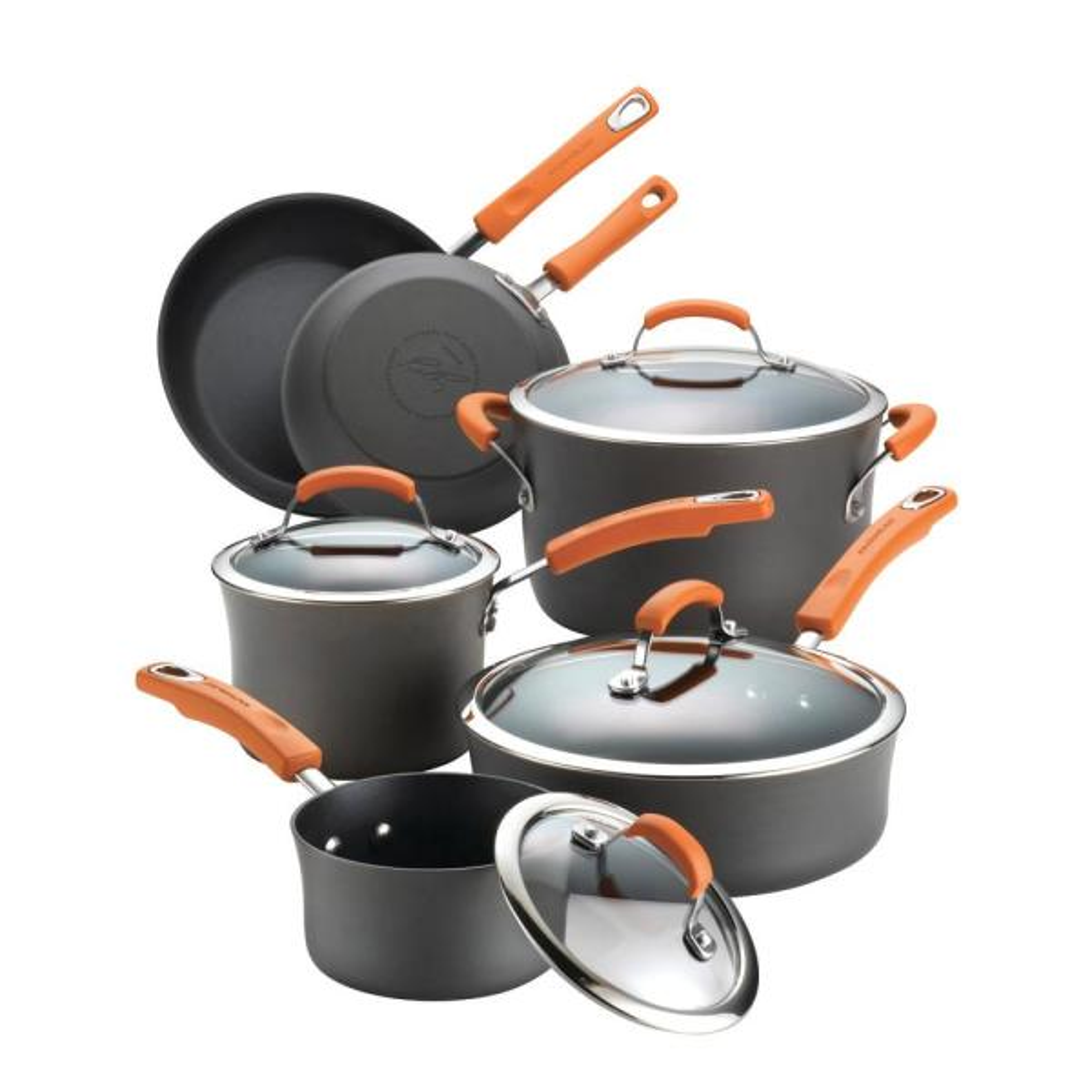 Rachael Ray 10-Piece Gray/Orange Cookware Set with Lids