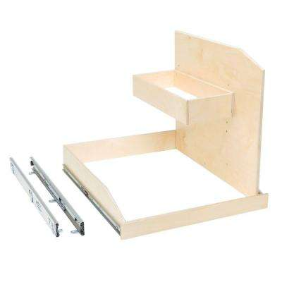 Made-To-Fit 12 in. to 30 in. wide, Adjustable Sink Caddy Slide-Out Shelf System with Full Extension in Solid Wood Front