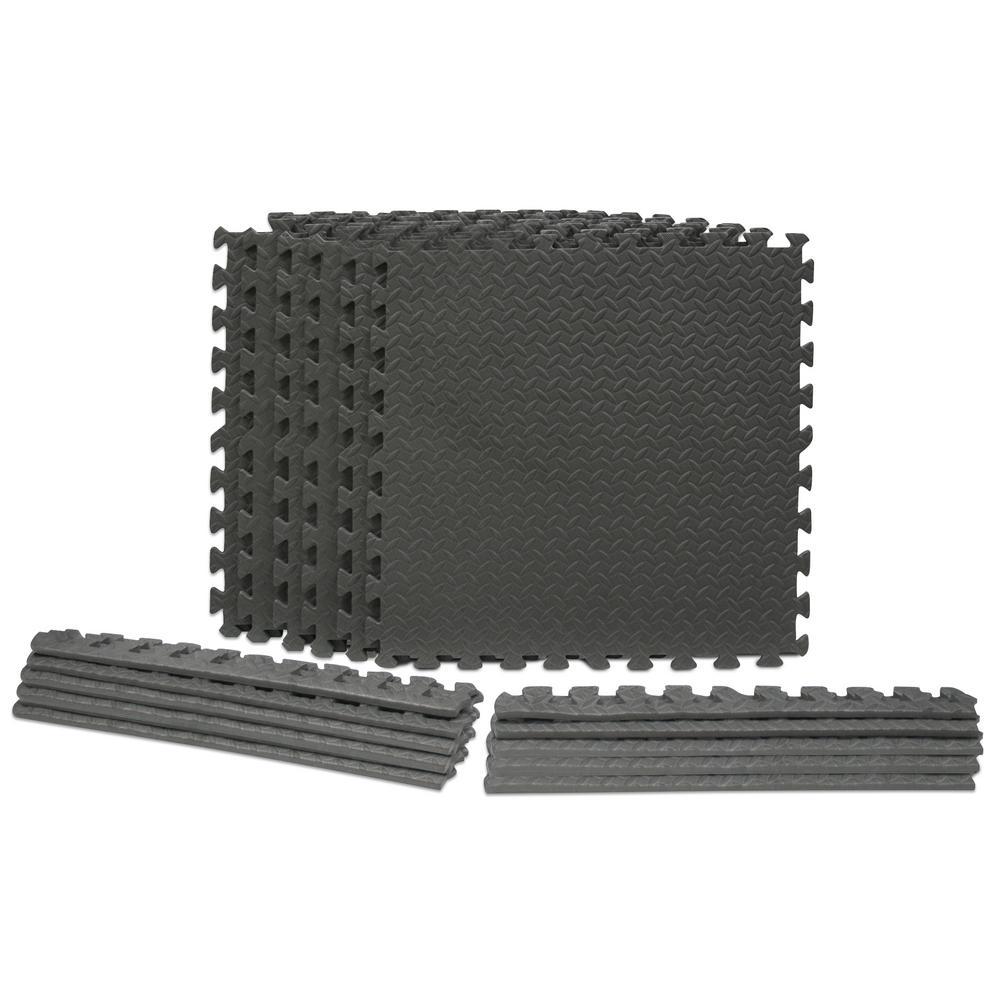 Dark Gray 24 in. x 24 in. x 0.47 in. Foam Interlocking Gym/Garage Flooring  (24 sq. ft.) (6-Pack)