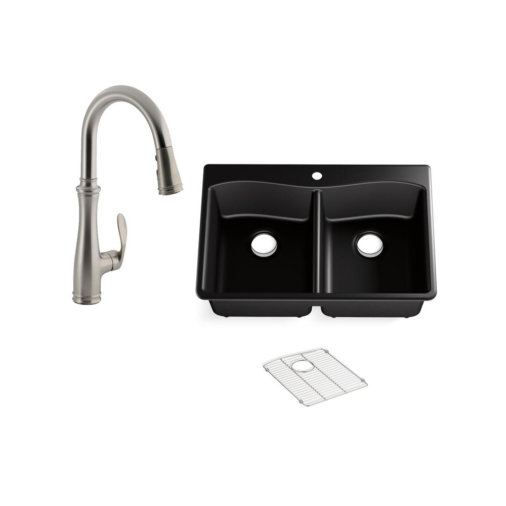Undermount Composite Kitchen Sink With Faucet on wall mount kitchen sink faucet, farmhouse kitchen sink faucet, single kitchen sink faucet,