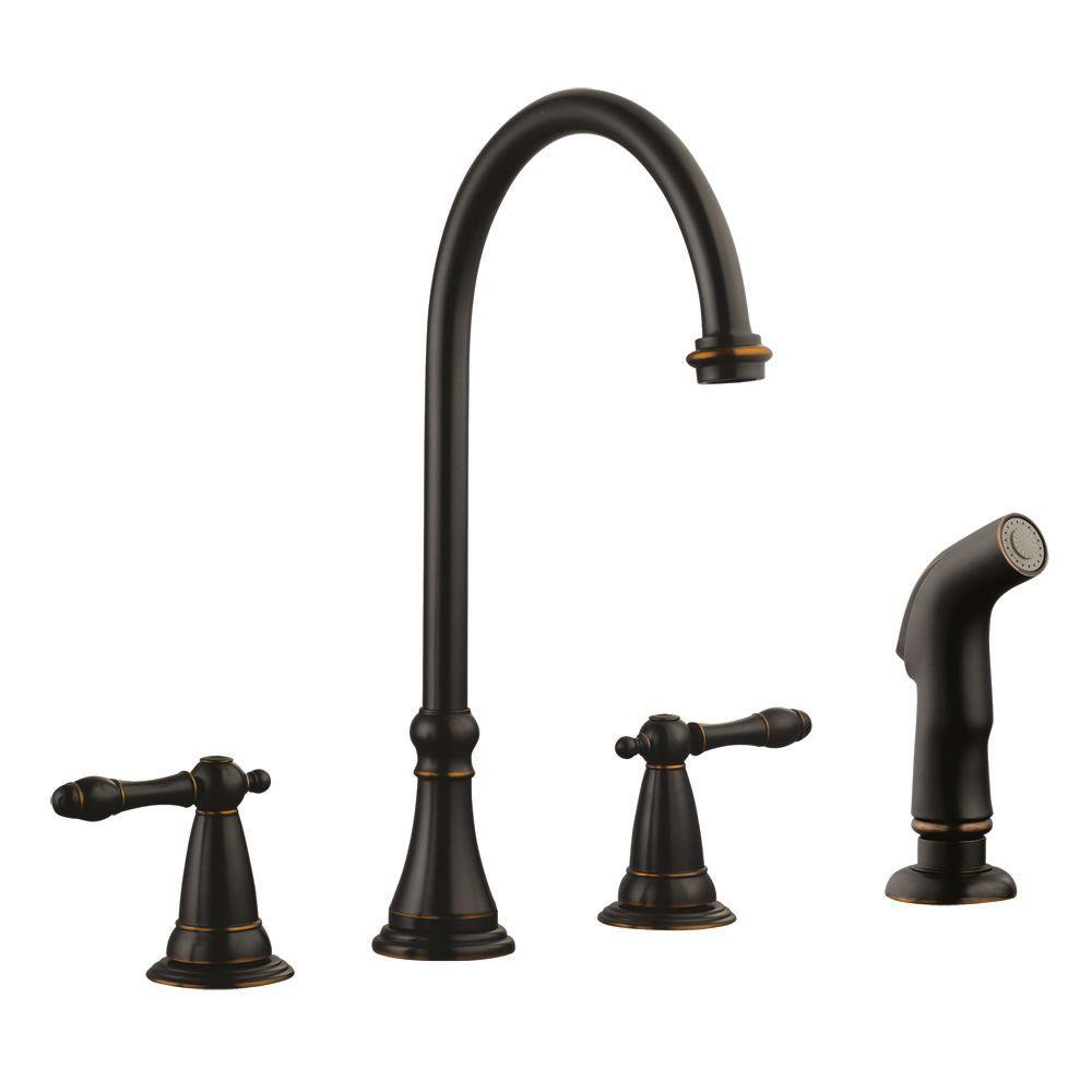 Design House Montello 2-Handle Standard Kitchen Faucet with Side Sprayer in Oil Rubbed Bronze