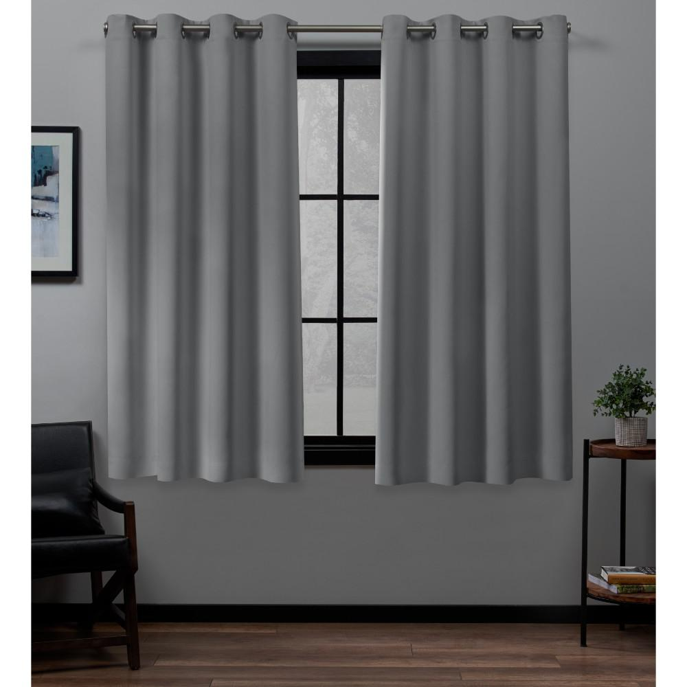 Exclusive Home Curtains Academy 52 in. W x 63 in. L Woven Blackout Grommet Top Curtain Panel in Silver (2 Panels)