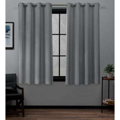Academy 52 in. W x 63 in. L Woven Blackout Grommet Top Curtain Panel in Silver (2 Panels)