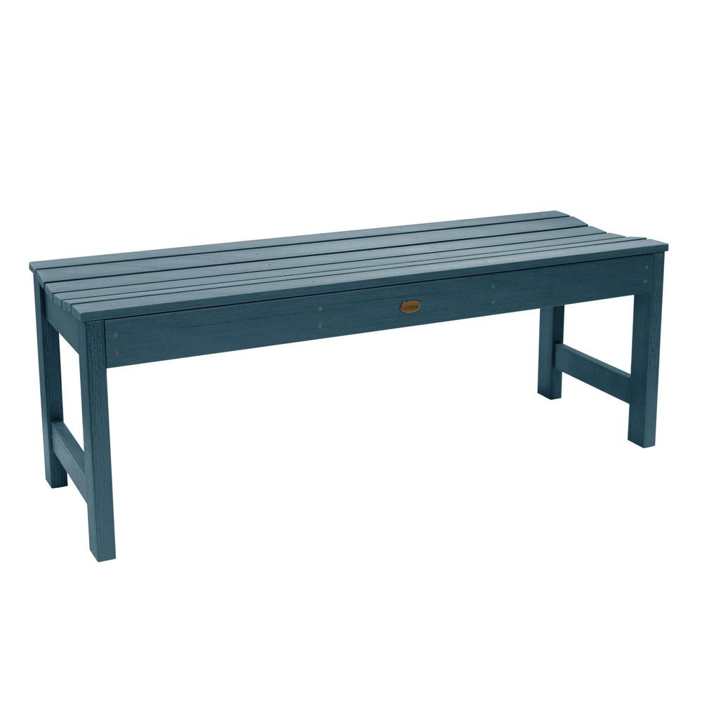 Highwood Lehigh 48 in. 2-Person Nantucket Blue Recycled Plastic Outdoor Picnic Bench