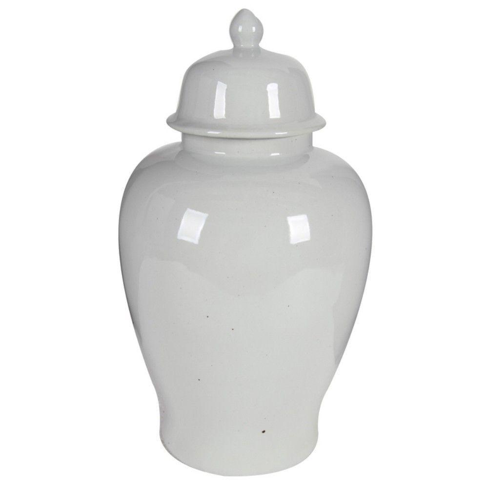 Off White Ceramic Ginger Jar with Lid