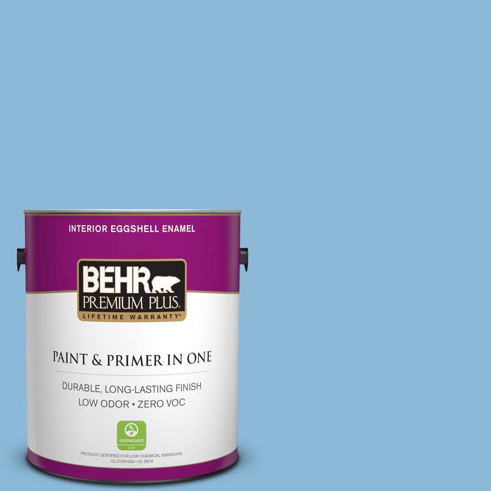 BEHR Premium Plus 1 gal. #MQ5-55 Simply Posh Eggshell Enamel Zero VOC Interior Paint and Primer in One, Blues