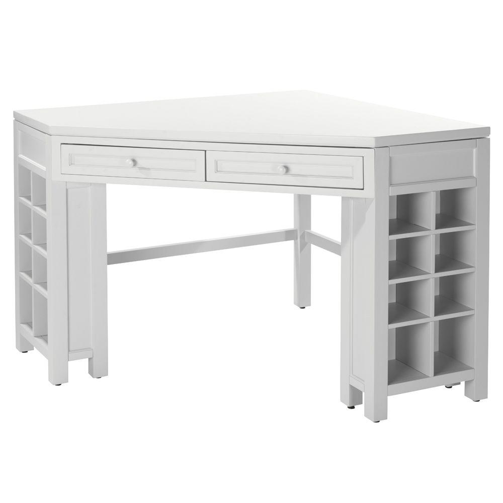 MarthaStewartLiving Martha Stewart Living Craft Space Picket Fence White Corner Craft Table with Storage