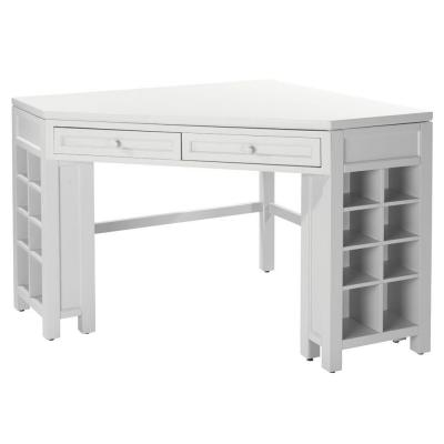 Craft Space Picket Fence White Corner Craft Table with Storage