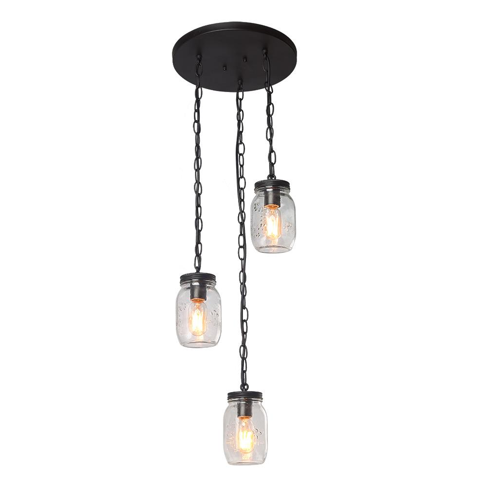 Edison Bulb Chandelier Mason Jar Lighting Mason By: LNC 3-Light Bronze Mason Jars Chandelier-A03223