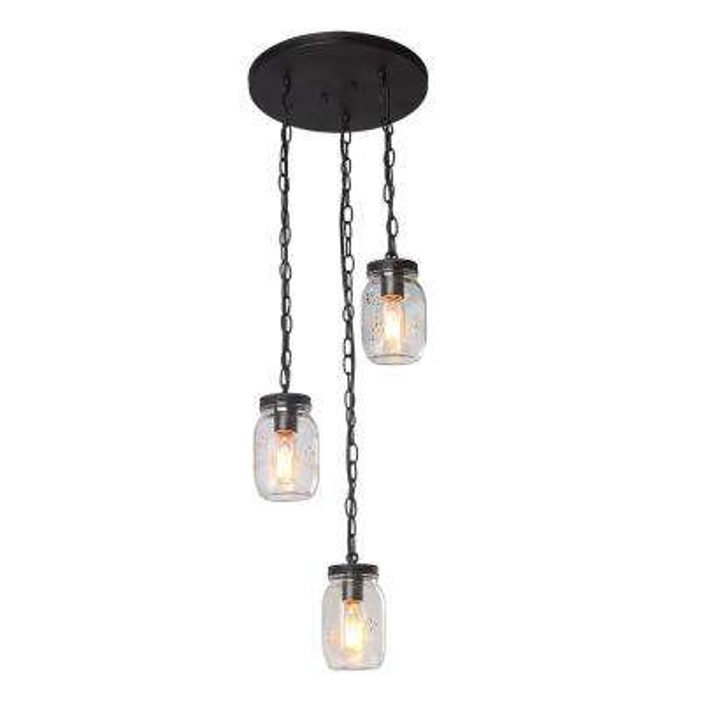 3-Light Bronze Mason Jars Chandelier
