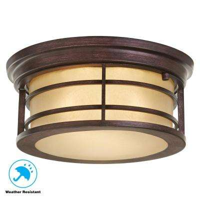 2-Light Bronze Outdoor Ceiling Light with Amber Glass