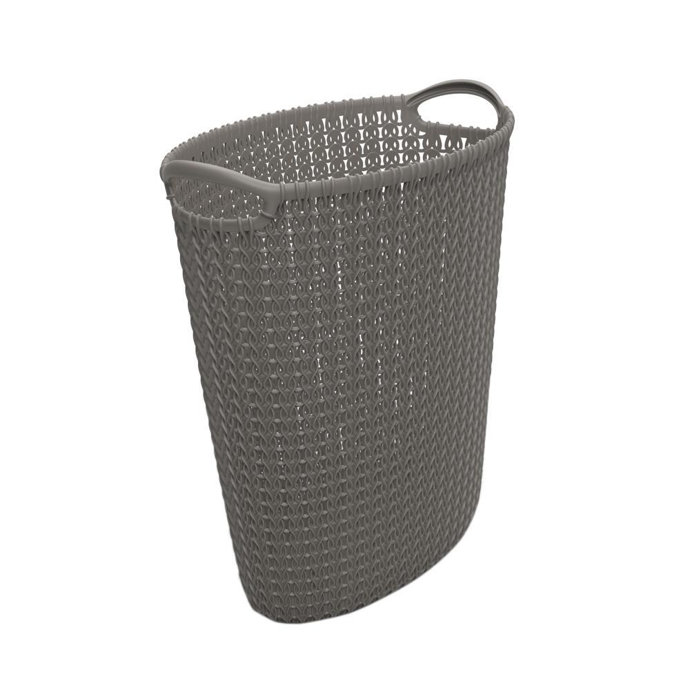 3.2 Gal. Grey Knit Oval Waste Basket
