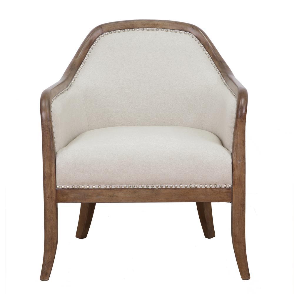 Beige farmhouse style accent chair