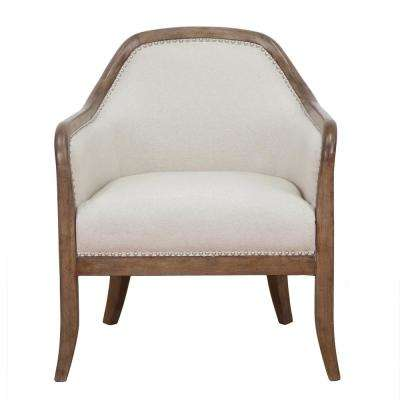 Beige Farmhouse Style Accent Chair