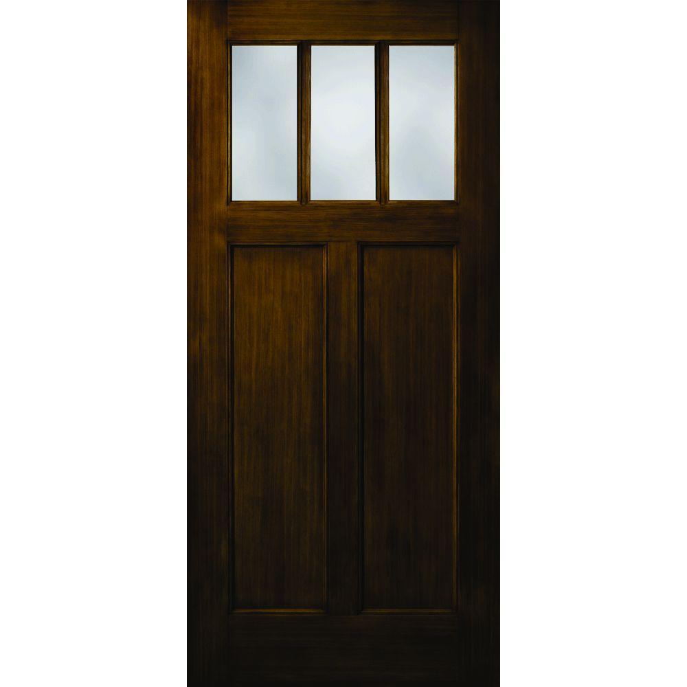 Builder's Choice Craftsman 2-Panel 3 Lite Stained Fiberglass Dark Walnut Prehung Front Door-DISCONTINUED