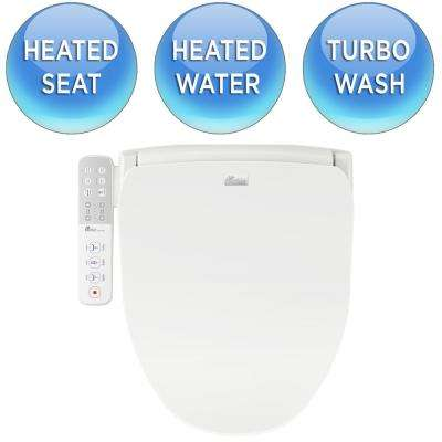 Slim Series Electric Smart Bidet Seat for Round Toilet in White with Side-Panel Control and Nightlight