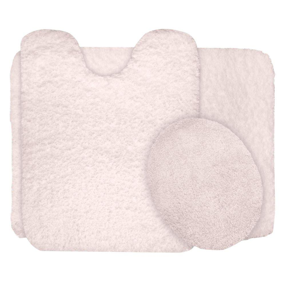 Lavish Home Ivory 19 5 In X 24 In Super Plush Non Slip 3 Piece Bath Rug Set 67 14 I The Home Depot