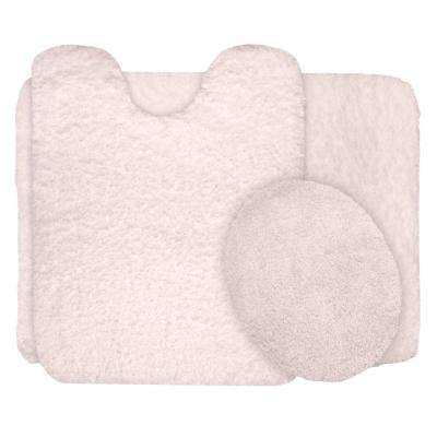 Ivory 19.5 in. x 24 in. Super Plush Non-Slip 3-Piece Bath Rug Set
